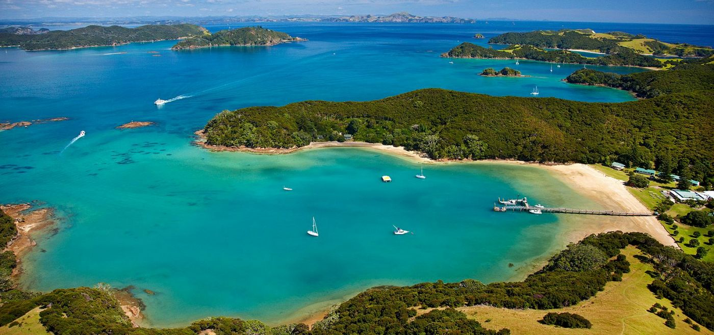 Birdseye view of Bay of Islands, New Zealand